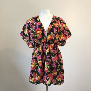 VS sheer floral beach cover-up